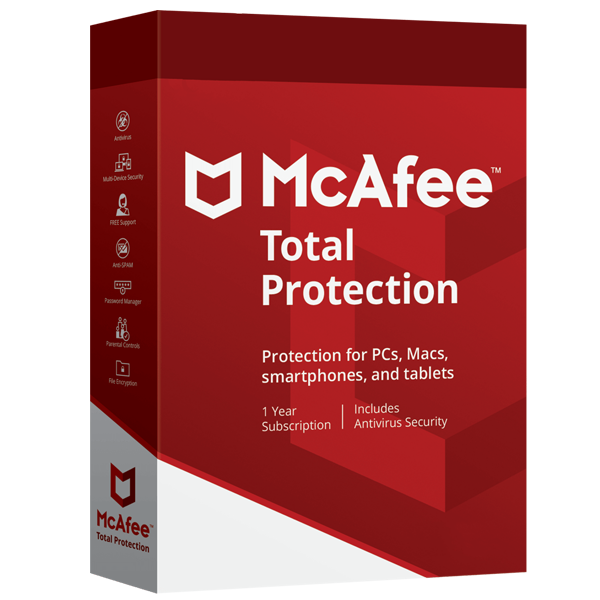 Mcafee Total Protection 2019 Dispositivos Ilimitados PC/MAC/Mobile Por 5 Años MFR # 6180829