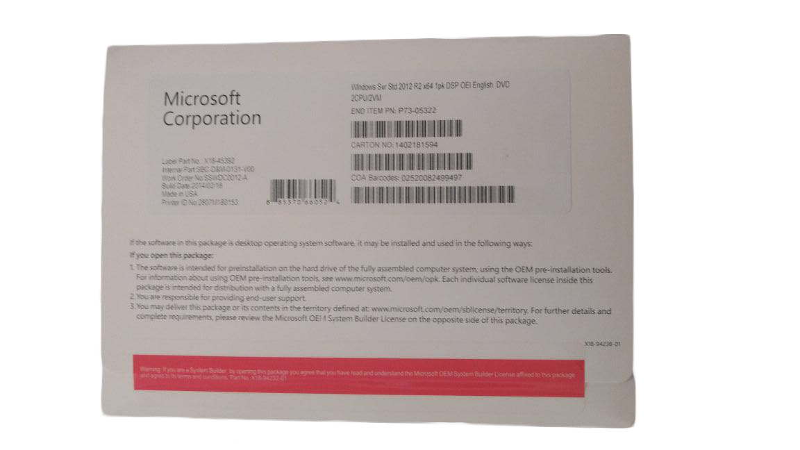 Windows Server 2012 R2 Standard x64 1pk DSP OEI English DVD 2CPU/2VM (BULTO 10 Und).