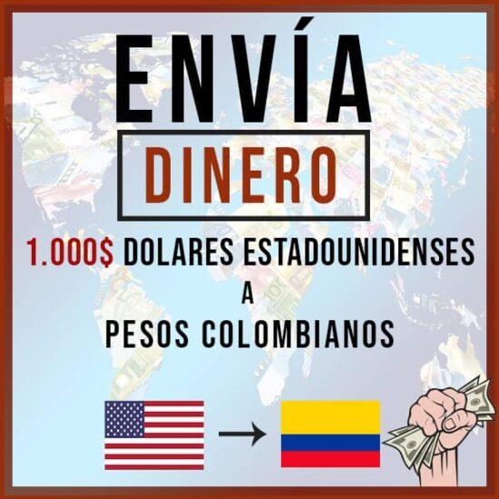 1000 USD Dólar a Peso Colombiano COP