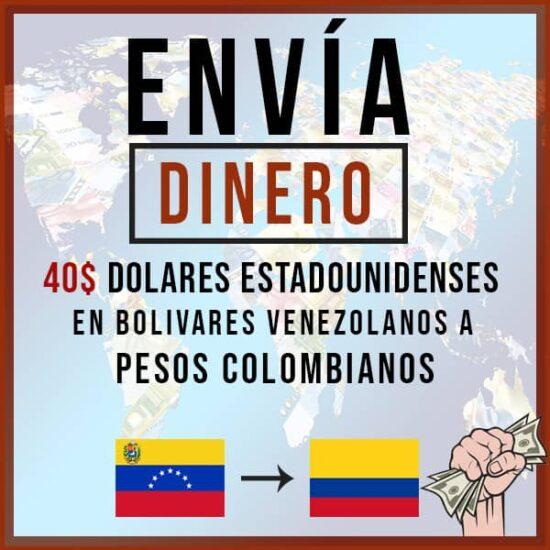 40 USD Dólar en Bolívares Venezolanos a Peso Colombiano COP
