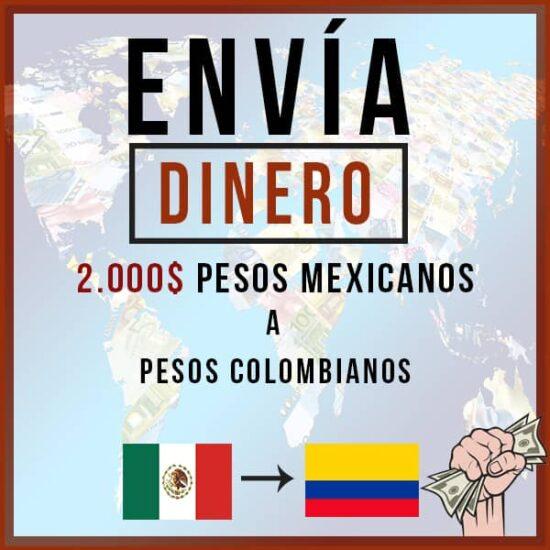 2000 Pesos Mexicanos MXN a Pesos Colombianos COP
