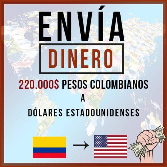 220000 Pesos Colombianos COP a Dólares Estadounidenses USD