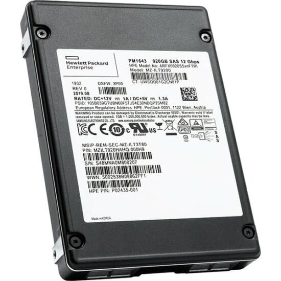 HP PM1643 920GB SAS FIPS Encrypted SSD
